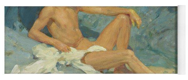 A Male Nude Reclining On Rocks Yoga Mat