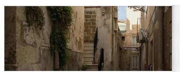 A Marble Staircase To Nowhere - Tiny Italian Lane In Syracuse Sicily Yoga Mat