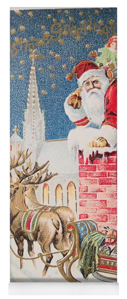 A Merry Christmas Vintage Greetings From Santa Claus And His Raindeer Yoga Mat