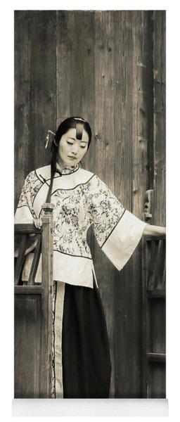 A Model In A Period Costume. Yoga Mat