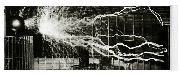 A Multiple Exposure Picture Of Tesla With His Magnifying Transmitter Yoga Mat