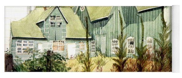 Watercolor Of An Old Wooden Barn Painted Green With Silo In The Sun Yoga Mat