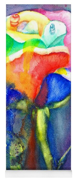 A Painted Rose In The Rain Yoga Mat