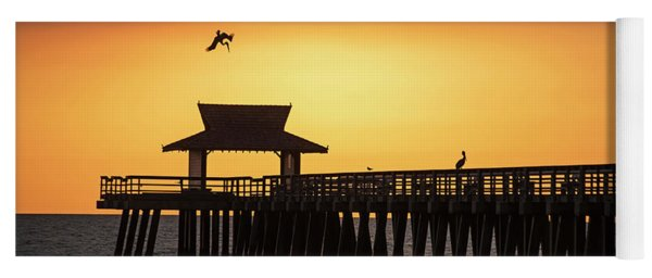 A Pelican Dive-bomb At The Naples Pier Naples Fl Yoga Mat