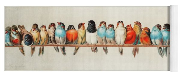 A Perch Of Birds, 1880 Yoga Mat