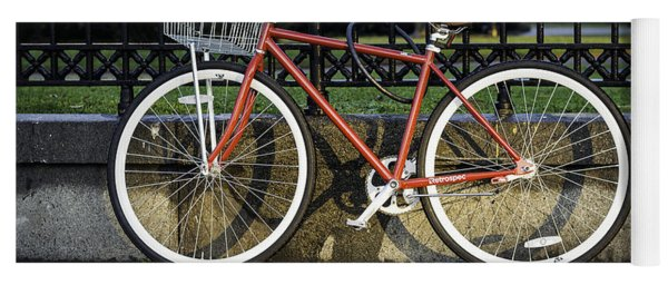 A Red Bicycle Near Jackson Square, New Orleans, Louisian Yoga Mat