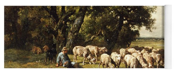 A Shepherd And His Flock Yoga Mat