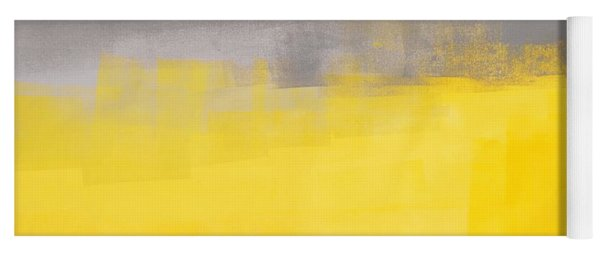 A Simple Abstract - Grey And Yellow Abstract Art Painting Yoga Mat