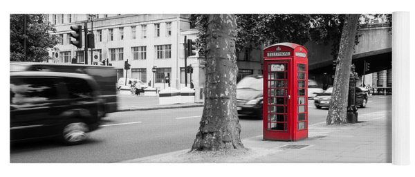 A Single Red Telephone Box On The Street Bw Yoga Mat
