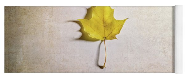 A Single Yellow Maple Leaf Yoga Mat