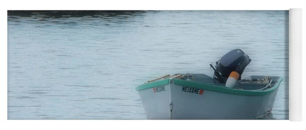 Yoga Mat featuring the photograph A Small Boat In Casco Bay by Guy Whiteley