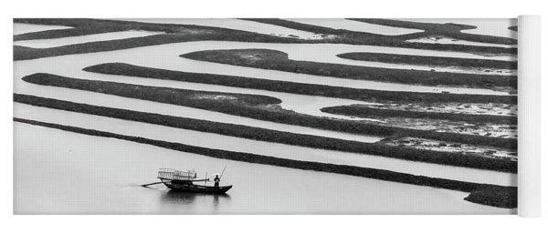 A Solitary Boatman. Yoga Mat