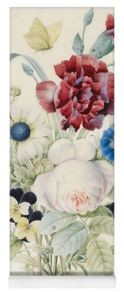 A Spray Of Flowers Including A Rose A Blue Convolvulus And Pansies Yoga Mat