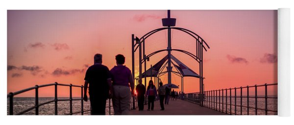 Yoga Mat featuring the photograph A Stroll Along Sunset Pier by Ray Warren