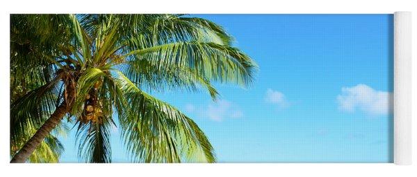 A Tropical Palm Tree Beach Yoga Mat