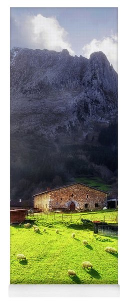 A Typical Basque Country Farmhouse With Sheep Yoga Mat