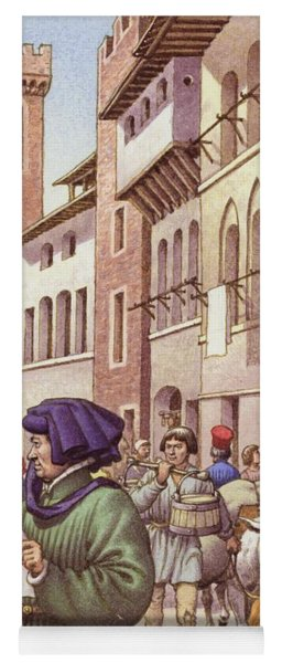 A Typical Street Scene In Florence In The Early 15th Century  Yoga Mat