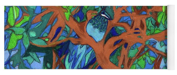 Yoga Mat featuring the painting A Very Pretty Peacock In A Pear Tree by Denise Weaver Ross
