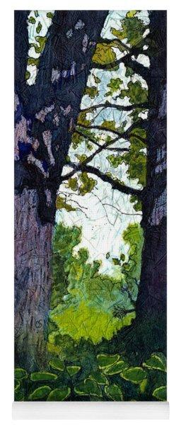 A View Through The Trees Watercolor Batik Yoga Mat