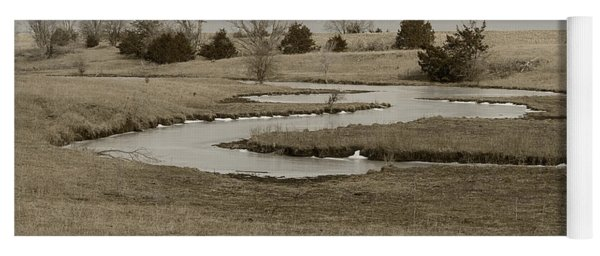 A Winding Creek In Winter As Geese Fly Overhead Yoga Mat