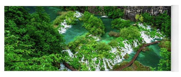 Above The Paths And Waterfalls At Plitvice Lakes National Park, Croatia Yoga Mat