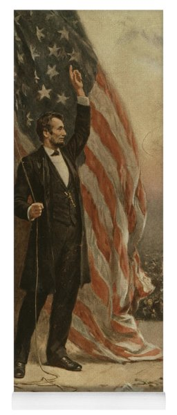Abraham Lincoln Raising Flag And Speaking To Crowd From Platform Yoga Mat