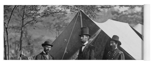 Abraham Lincoln With Allan Pinkerton And Major General Mcclernand At Antietam, 1862 Yoga Mat