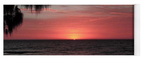 Abstract Beach Palm Tree Sunset Yoga Mat
