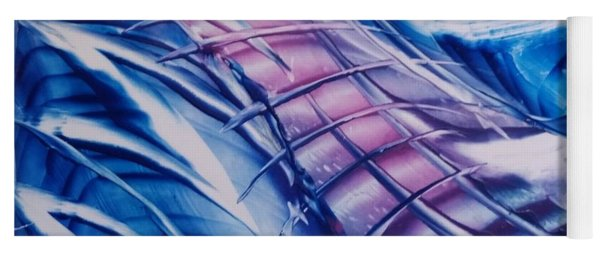 Abstract Blue With Pink Centre Yoga Mat