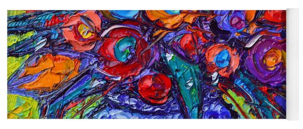 Abstract Colorful Tulips Modern Impressionist Impasto Palette Knife Oil Painting  Ana Maria Edulesu Yoga Mat