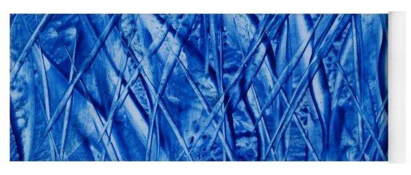 Abstract Encaustic Blues Yoga Mat