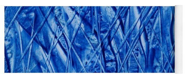 Abstract Encaustic Blues Yoga Mat
