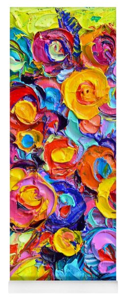 Abstract Flowers Of Happiness Modern Textural Impressionist Impasto Knife Oil By Ana Maria Edulescu Yoga Mat