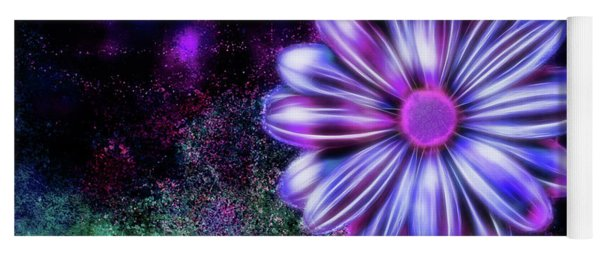 Abstract Glowing Purple And Blue Flower Yoga Mat