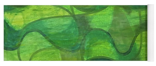 Abstract Green Wave Connection Yoga Mat