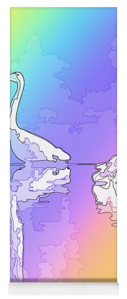 Abstract Herons Rainbow Yoga Mat
