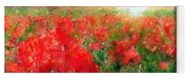 Abstract Landscape Of Red Poppies Yoga Mat