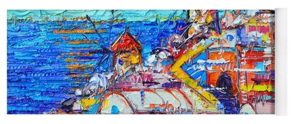 Abstract Oia Sunset Santorini Impressionist Impasto Palette Knife Oil Painting By Ana Maria Edulescu Yoga Mat