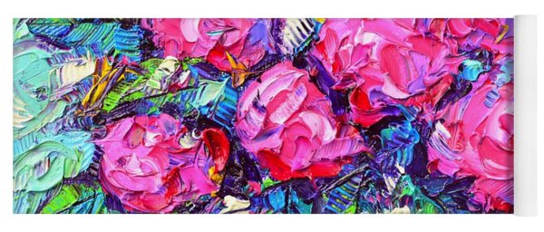 Abstract Pink Hydrangeas Modern Textural Impressionist Impasto Knife Oil Painting Ana Maria Edulescu Yoga Mat