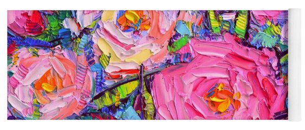 Abstract Pink Peonies Modern Textural Impressionist Impasto Knife Oil Painting By Ana Maria Edulescu Yoga Mat
