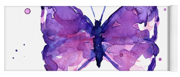 Abstract Purple Butterfly Watercolor Yoga Mat
