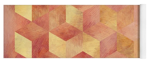 Abstract Red And Gold Geometric Cubes Yoga Mat