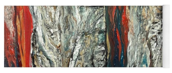 Abstract Red And Silver Latte Stones Yoga Mat