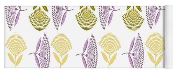 Abstract Stylized Floral Dandelion Repeating Pattern In Lilac Yoga Mat