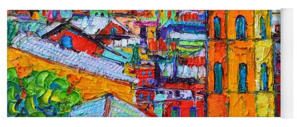Abstract Vernazza Impression Cinque Terre Italy Impasto Textural Impressionist Knife Oil Painting Yoga Mat