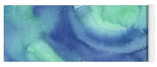 Abstract Watercolor Aqua Blues Yoga Mat