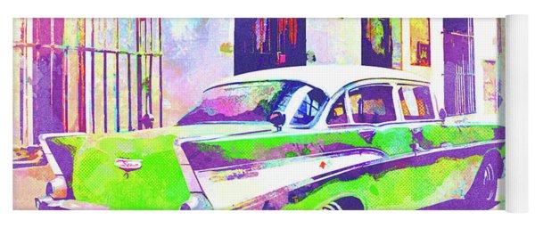 Abstract Watercolor - Havana Cuba Classic Cadillac II Yoga Mat