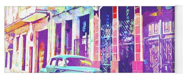 Abstract Watercolor - Havana Cuba Classic Car II Yoga Mat