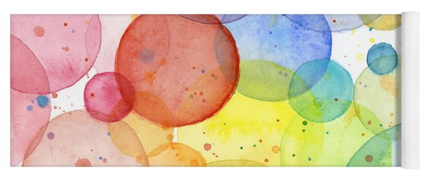 Abstract Watercolor Rainbow Circles Yoga Mat