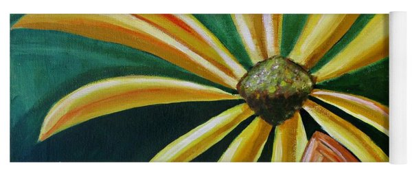 Abstract Yellow Sunflower Art Floral Painting Yoga Mat